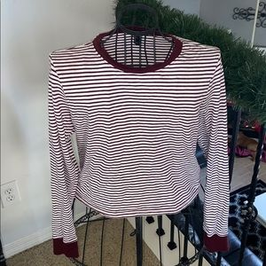 5/$25 Burgundy Stripped Cropped Tee